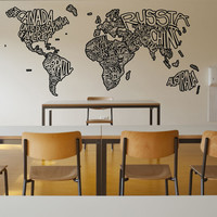Vinyl Wall Decal Sticker Country Name Designs #5078