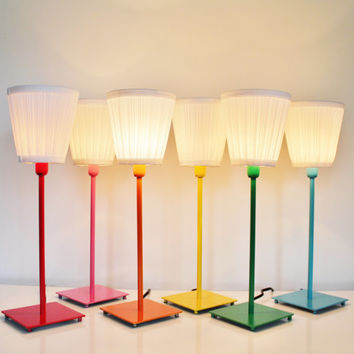 COLORFUL Table Top Lamp - Metal Lamp With White Cloth Shade in Red, Orange, Yellow, Green, Blue, or Pink - Upcycled BootsNGus Lighting