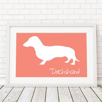 Dachshund Silhouette Modern Dog Print - Custom Wall Art, Personalized Dog Print, Modern Dog Home Decor, Dog Portrait, Dog Art, Dog Lovers