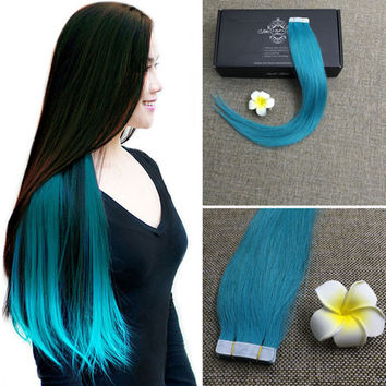 Full Shine Teal Hair Extensions Remy Seamless Skin Weft Tape in Human Hair Extensions 25g Per Pack Hair Extensions Glue in Hair
