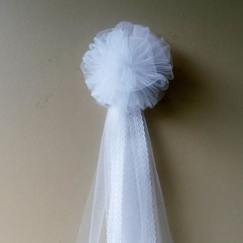 White Tulle Pew Bow Pom Wedding Bridal