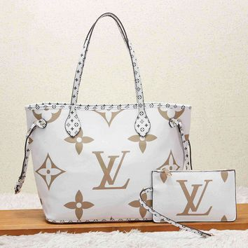 Louis Vuitton LV Women Shopping Leather Tote Handbag Shoulder Bag Purse Wallet Set Two-Piece White