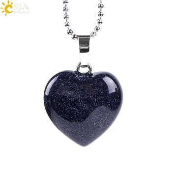 CSJA Natural Gem Stone Love Heart Chain Necklace & Pendant for Lover Reiki Healing Blue Brown Sand Opal Charm Sweet Jewelry E757