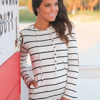 Ivory and Black Striped Hoodie with Elbow Patches