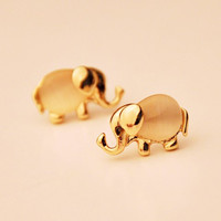 Mini Gold Elephant Earrings