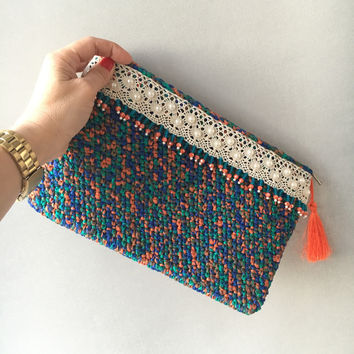 Blue Crochet Clutch, Handbag