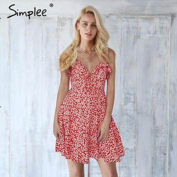 Simplee Lace up ruffle strap summer dress women V neck backless short boho dress 2018 Streetwear red casual dress vestidos