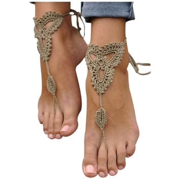 1 Pair Barefoot Sandals Crochet Foot Jewelry Ankle Anklet Cotton Bracelet Chain Khaki