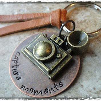 Capture Moments Hand Stamped Keychain Camera Charm Keyring Keychain