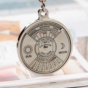 1Pcs Newest Unique Metal 50 Years Perpetual Calendar Key Chain