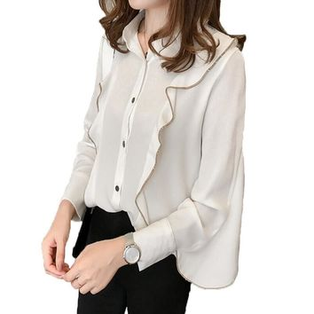 Blouse Women Tops White Office Blusas 2017 Fashion Ruffles Casual Long Sleeve Women Shirts Plus Size M-4XL Loose Camisas Mujer