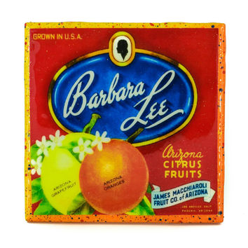 Barbara Lee Brand - Vintage Citrus Crate Label - Handmade Recycled Tile Coaster