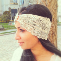 Light gray Lace Stretch Headband