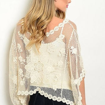 Chic Sheer Crochet Floral Top