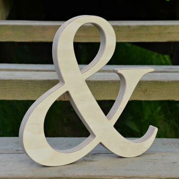 9'' Wood Ampersand for Rustic Wedding Decor, Wooden Photo Prop, Free Standing or Wall Hanging Ampersand, Wood Home Decor
