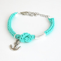 Nautical bracelet with anchor charm, mint bracelet with knot, anchor bracelet