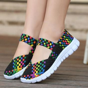 Women Woven Shoes 2017 Summer Breathable Handmade Shoes Fashion Comfortable Women Wove