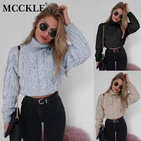 MCCKLE Women Twist Knitting Turtleneck Short Pullovers 2018 Autumn Winter Solid Female Sweater Sexy Long Sleeve Ladies Crop Top