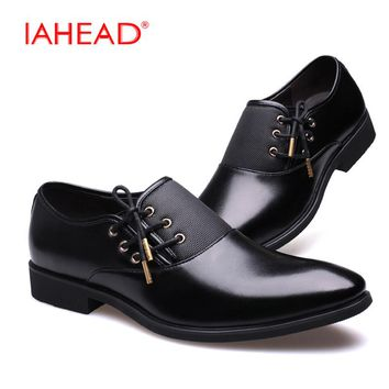 IAHEAD Men Casual Shoes Luxury Business Dress Shoes Genuine Leather Lace-Up Oxfords Shoes Plus Size 38-47 zapatos MU547