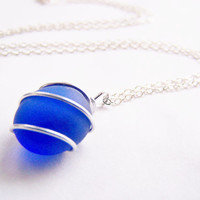 Sea Glass Bridesmaids sets - Cobalt Blue Necklace with Glass Pearl Option - Other Colors and Earrings Available - Weddings - seaside