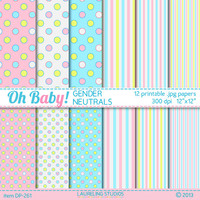 gender neutral baby digital paper pink, blue and yellow gender reveal shower paper polka dots, stripes, scrapbooking DIGITAL DOWNLOAD DP261