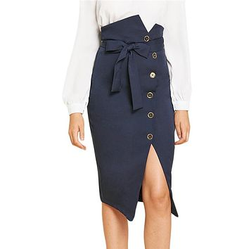 Blue Elegant Office Lady Button Up Slit Hem Mid Waist Belted Solid Sheath Skirt Women Workwear Skirts