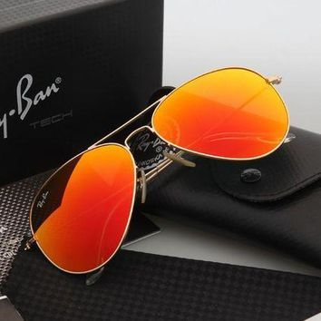 CREYGE2 Beauty Ticks Ray Ban Aviator Sunglasses Gold Frame Orange Flash Lens Rb3025 Sunglasses