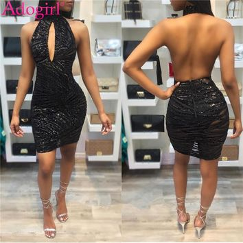Adogirl 2018 Hot Sheer Mesh Sequins Bodycon Dresses Women Sexy Keyhole Halter Backless Mini Party Club Dress Stage Bar Vestidos