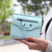 Mint Rivet Tassel Leather Wallet