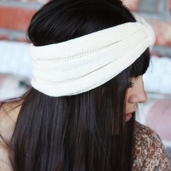 Headband - Knitted , streatch, Linen White  ,infinity, Wide Headband, Turban, Christmas Gift