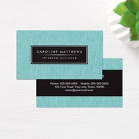 Turquoise aqua blue linen elegant personal profile business card