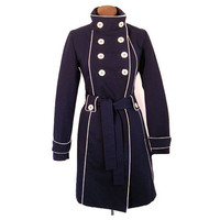 Vintage 60s MOD Navy Blue Trench Coat Raincoat Fitted Belted Piping Big Buttons S