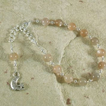 Selene Prayer Bead Bracelet in Moonstone: Greek Goddess of the Moon