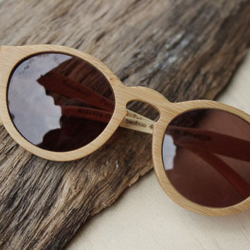 handmade round vintage bamboo  eyeglasses  sunglasses 1104 with wood box TAKEMOTO