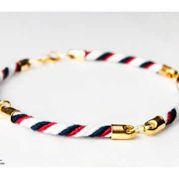 Four quarter nautical rope bracelet - White, red and navy