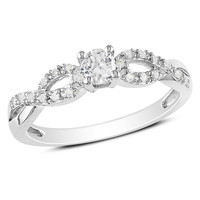 Lab-Created White Sapphire and Diamond Accent Twine Promise Ring in Sterling Silver