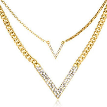"Goldtone Double Layer Iced Out ""V"" Chevron Pendant Adjustable 16 Inch Necklace"