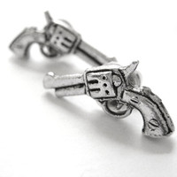 Silver Revolver Gun Earrings - Stud Post Mens Womens Gun Jewelry Police Costume Accessory