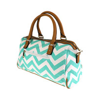Mint Chevron Fabric Satchel