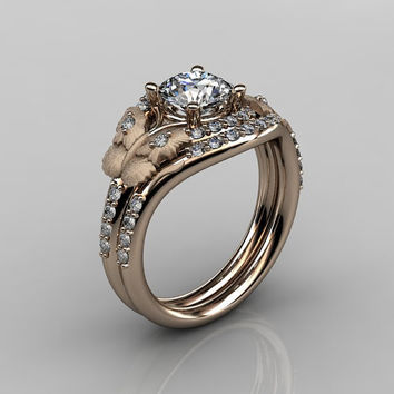 14KT Rose Gold Diamond Butterfly and Vine White Sapphire Wedding Ring,Engagement Ring NN117SS-14KRGDWS Nature Inspired Jewelry