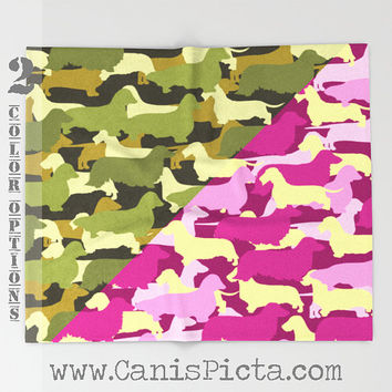 "Camo Dachshund Puppy Dog 51""x60"" Throw Blanket Cozy Soft Pink Green Cream Pastel Camouflage Army Brown Weenie Doxie Wire Long Smooth Wiener"
