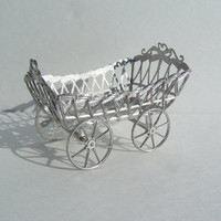 Schweitzer Dollhouse Miniature Soft Metal Childs Wagon Style Carriage , Early 1900s, on sale was 90.00