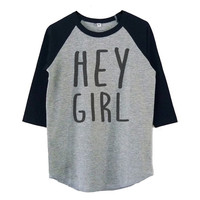 Girl quotes Hey girl shirt raglan shirt for kids toddlers boys girls tops Baby clothes
