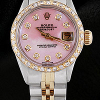 Ladies pink mop diamond dial watch rolex datejust jubilee bracelet two tone