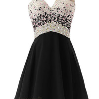 Sexy One-shoulder Beaded Bodice Short Prom Dress Am54