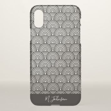 Personalized Black Fishscale Patterned iPhone X Case