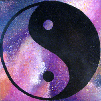 Pink Galaxy Yin Yang Painting - Original, One Of A Kind, Acrylic Art - 8 x 8 Inches