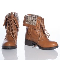 Warm Form DASON-03 Sweater Cuff Fold Down Lace Up Combat Boots - Camel