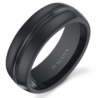Double Groove 8mm Mens Black Tungsten Wedding Band Ring Available in Sizes 8 to 13