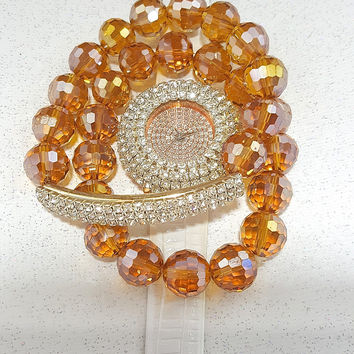 Rose Gold Crystal Watch Chunky Swarovski Bead Bracelets